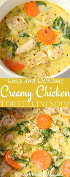 Try this best,easy and healthy recipe of creamy chicken tortellini soup.This tortellini soup is with lots of veggies of your choice along with spinach,cream,chicken. Cheese Tortellini Recipes, Spinach Tortellini Soup, Chicken Soup Recipes, Easy Soup Recipes, Healthy Recipes, Chicken Pasta, Healthy Chicken Soup, Chicken Soups, Tortellini With Chicken