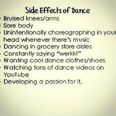 Just a few side effects of dance: