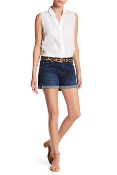 Image of 7 For All Mankind Rolled Hem Denim Shorts