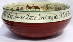 Typical Norwegian Ale Bowl with verse around the top rim and painted interior. 19-20th century. Often given as wedding or engagement gifts.