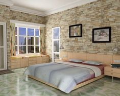 Retro Bedroom Design With Woden Bunk Bed And Natural Stone Brick Wall Also Marble Floor Patterned And Wooden Table And Cabinets