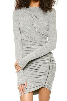 Stylish Round Collar Long Sleeve Zippered Pure Color Women's Dress