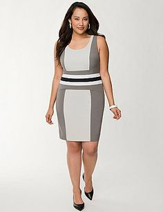 Professional for the office with enough panache to carry you through evening and weekend occasions, our paneled sheath dress makes an art of curve flattery. Contoured to hug your shape in all the right places, this beautiful number features wide tank straps, a scoop neckline and a banded waist. Hidden side zipper with hook & eye closure. Fully lined. lanebryant.com