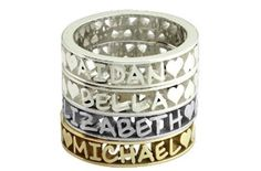 Stackable Name Rings. Get them here: http://everymomneeds.com/stackable-name-rings/
