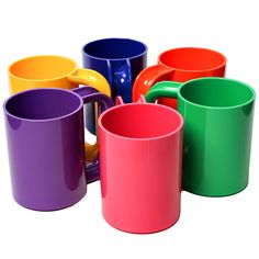 Mug Rainbow Set of 6 by Lella & Massimo Vignelli. Our first dinnerware! Pink and green, from Design Research in Philadelphia.