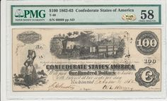 "#New post #T-40 PF-1 $100 Confederate Paper Money - 1862 - PMG AU 58 - PLUS - silver!  http://i.ebayimg.com/images/g/pHMAAOSw9GhYiliE/s-l1600.jpg      Item specifics   Seller Notes: ""High grade $100 1863 7.3% interest note. Trivial ink cracking on the left stand of the ""W on the right signature. Fully framed and rare on a T-40. Great color and balance. Choice for grade save minor ink cracking. Comes with a PLUS – silver... https://www.shopnet.one/t-40-pf-1-10"