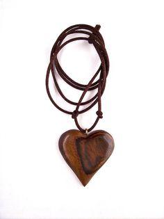 Wood Heart Pendant Wooden Pendant Wood Jewelry by GatewayAlpha, $17.95