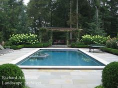 Nice color on stamped concrete. Hedge is too formal, but love the natural looking trellis and flowering shrubs.