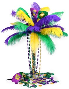 Mardi Gras Centerpiece, a feather tree tutorial