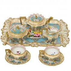 Eight-piece Jacob Petit Gilded And Decorated Porcel