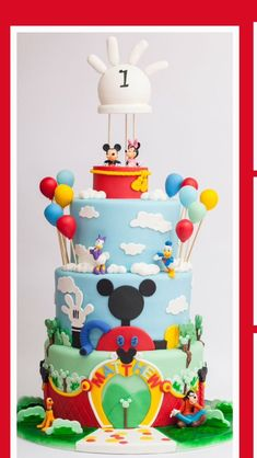 Mickey mouse clubhouse cake by GemaSweets. Bolo Do Mickey Mouse, Mickey And Minnie Cake, Fiesta Mickey Mouse, Bolo Minnie, Mickey Mouse First Birthday, Mickey Mouse Clubhouse Birthday Party, Mickey Cakes, Mickey Mouse Parties, Minnie Mouse Cake