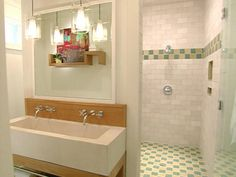 shower w/ false wall