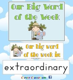 Big Word of the Week - Reading and Strategy Approach - PDF fileRevised (July, 2012) to include Zaner-Blosser font and cover page, as well as ideas page.    15 pages with a total of 39 big words, designed by Clever Classroom.     A whole class modelled spelling activity.