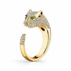 Anita Ko 18K Yellow Gold Panther Ring With Diamonds