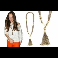 """✨Just In✨Celeb Style Tassel Necklace NWOT! As seen on actress Minka Kelly & Maria Menounos ✨Fabulous antique gold finish tassel necklace! -Uniquely crazy front hook closure is adjustable for length and can be worn in so many ways. -33"""" length. Tassel length 2 3/4"""". Price Drop available (just ask) FYI: If you are familiar with this brand then you know these pieces tarnish easily! Please view the second pic! However this is an excellent buy for this retired hard to find piece! Stella & Dot…"""