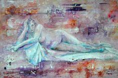 Femme nue et musique, aquerelle sur papier