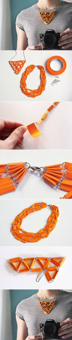 *** Cool Necklace from Paper Clips and Tape**  DIY & Crafts