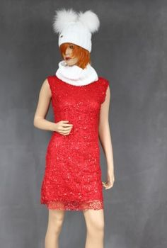 Red lace sequined dress
