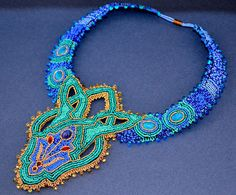 Crimson Frog The Sultana's Necklace- Bead Embroidered Statement Necklace. $325.00, via Etsy.