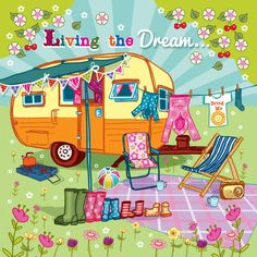 Living the Dream Art Print by Angie Spurgeon - X-Small Little Campers, Retro Campers, Vintage Campers, Arte Country, Camping Crafts, Vintage Trailers, Dream Art, Whimsical Art, Rock Art