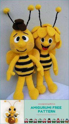 Amigurumi Bee Bee Free Pattern - amigurumi.myeatbook.com Crochet Bee, Crochet Teddy, Crochet Crafts, Crochet Projects, Animal Knitting Patterns, Crochet Amigurumi Free Patterns, Stuffed Animal Patterns, Bee Toys, Bee Free