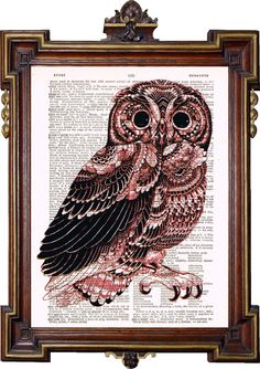 VINTAGE OWL Upcycled Art Print Illustration by TreasuresByUs, $6.50