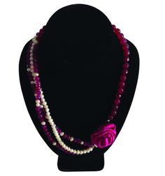 Rose Necklace. Made with Agates, Natural Rose Stone & Grade A Pearls.