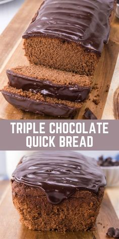 Quick breads are a great alternative to traditional yeast-based loaves without the long rise times. Our triple chocolate quick bread is simple, easy, and uses pantry staple ingredients. With or without the rich chocolate ganache topping, each slice pairs perfectly with a cold glass of milk for either breakfast or dessert. #bread #dessert