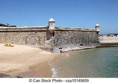 antigas, Fortificação, em, Lagos, Algarve, PORTUGAL -