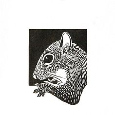 Linocut animals, squirrel, eekhoorn, hand printed wall art, matted, ready to frame, woodland animal print