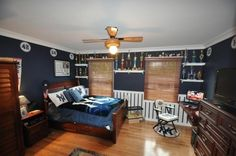 kids room, yankee style bedroom, A bedroom make over for my son. He wanted Yankee theme. Dream Bedroom, Kids Bedroom, Front Rooms, Bedroom Themes, Bedroom Ideas, New Room, House, Full Headboard, Room Pictures