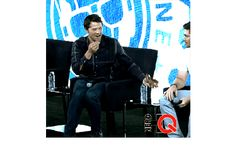 Misha throwing gummy bears at Jensen