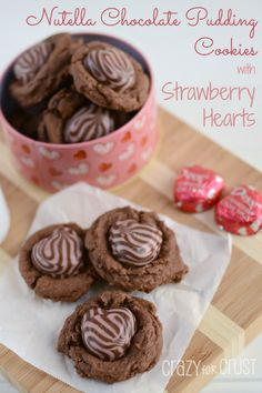 Nutella Chocolate Pudding Cookies with Strawberry #Dove Hearts by www.crazyforcrust.com | A soft chocolate pudding cookie filled with Nutella and topped with a strawberry swirl heart, perfect for Valentine's Day! #Nutella
