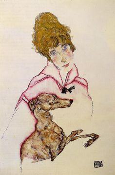 Egon Schiele, Woman with Greyhound (Edith Schiele), 1916