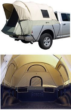 Camping Discover Kodiak Canvas Truck Tent This is awesome! A couple sleeping pads and some sleeping bags and youre good to go! No worries about rain pooling under your tent.picked up mine at Cabelas. They make them custom for particular models of truck. Camping Quebec, Vw Camping, Camping Survival, Camping Hacks, Camping Supplies, Camping Essentials, Camping Guide, Survival Tips, Motorcycle Camping