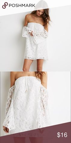 ✨White Off-the-Shoulder Floral Lace Dress✨ Women's White Off-the-shoulder Floral Lace Mini Dress purchased at Forever 21. Never worn. Perfect for a sunny day or dress it up for a night out! Comment below with any questions about this dress. Dresses Mini