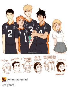 third year karasuno--but I don't think Hinata is chill enough to be captain lol Haikyuu Manga, Haikyuu Karasuno, Haikyuu Funny, Haikyuu Fanart, Manga Anime, Anime Kiss, Manga Girl, Anime Art, Kagehina