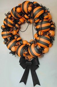 Halloween Wreath made from striped stockings and styrofoam balls!