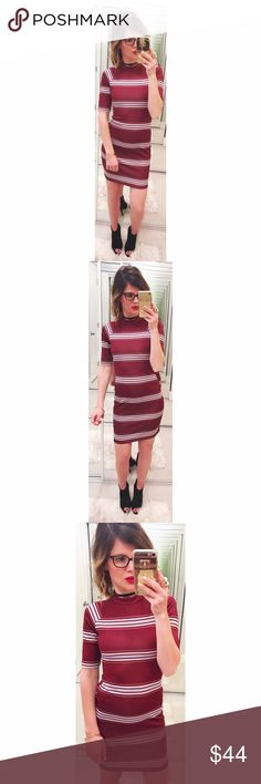 ➡Asos Striped Bodycon Dress⬅ A gorgeous dress with stripes, mock neck and exposed zipper closure in the back. ASOS Dresses Mini