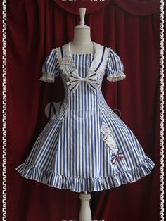 [$67.99] Classic Stripe Cotton Short Sleeves Sailor Collar Bow Lolita One-Piece