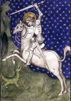 St. George and the Dragon  book of hours, France 15th century.  British Library, Harley 2952
