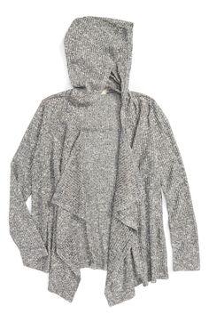 Main Image - Soprano Hooded Rib Knit Cardigan (Big Girls)