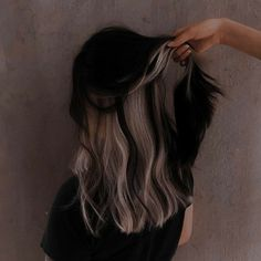 Hair Color Streaks, Hair Color Purple, Hair Dye Colors, Two Color Hair, Under Hair Color, Blue Hair Highlights, Hair Inspo, Hair Inspiration, Hair Color Underneath