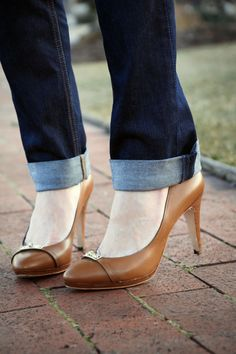 can't go wrong with nude heels and dark wash denim.