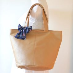 Buy Tote Bag, vegan, vinyl leather in taupe, bucket style, back to school by bennaandhanna.only $54. enter coupon code FREESHIP50 for free shippping.  Explore more products on http://bennaandhanna.etsy.com