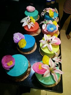Coloured Ganache with wafer paper flowers