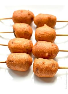 A new post from She Wears Many Hats . These * *Smoked Sausage Corn Dogs ** take corn dogs to another level of greatness. If you like corn dogs,. Recipes Appetizers And Snacks, Finger Food Appetizers, Appetizers For Party, Snack Recipes, Cooking Recipes, Desserts, Cheesy Garlic Bread, Garlic Butter Chicken, Corn Dogs