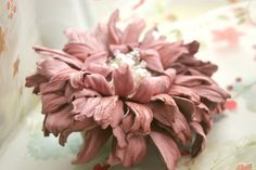 Pink Leather Flower Scrunchie with Pearls and Crystals art.28V5R44req43452. $125.00, via Etsy.