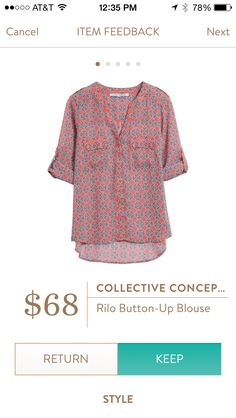 Button-up blouse. This top is adorable to wear with jeans. It is sort of see through so something needs to be worn under it. Stitch fix spring/summer 2016 2017. Try stitch fix subscription box :) It's a personal styling service! 1. Sign up with my referral link. (Just click pic) 2. Fill out style profile! Make sure to be specific in notes. 3. Schedule fix and Enjoy :) There's a $20 styling fee but will be put towards any purchase! #inspiration #preview #trending #tops