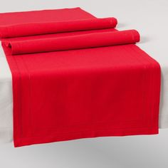 Chemin de table uni en coton rouge L 150 cm